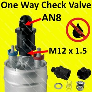 M12x1.5 to AN8 8AN One Way Check Valve For Bosch 044 Fuel Pump Outlet - Black