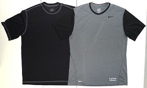 Lot 2 Nike Pro Fit Dry Team GrayBlack ACG 1 Base Layer Mens L Athletic Shirts