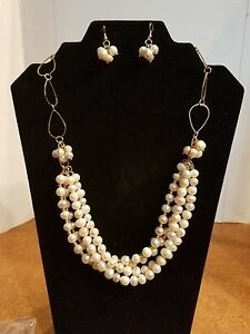 Set2 (Pearl necklace and earrings) Gold plated