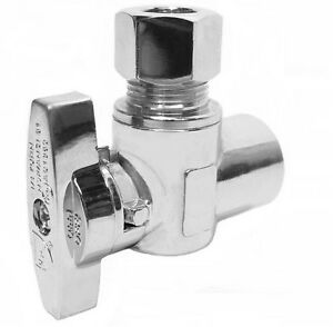 10 Angle Stop Valve 1 4 Turn 1 2quot; Sweat x 3 8quot; OD Compression LEAD FREE $45.99
