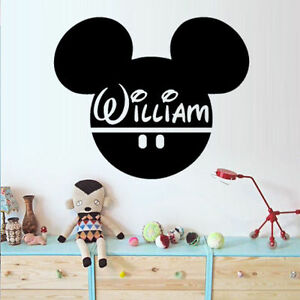 Wall Stickers custom baby name Mickey mouse head vinyl decal decor Nursery kids
