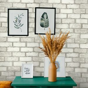 Vinyl Wallpaper wallcoverings textured tan white modern faux brick 3D paintable $38.99