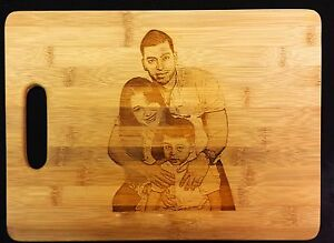 Personalized photo gift bamboo cutting board, kitchen, laser engraved w/ picture