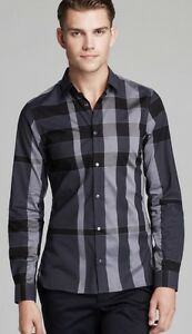Burberry London Pulbury Check Sport Shirt Slim Fit In Dark Grey For Men Size M