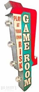 Game Room W/ Arrow Retro Double Sided Metal Sign W/ LED Lights, Arcade, Man Cave