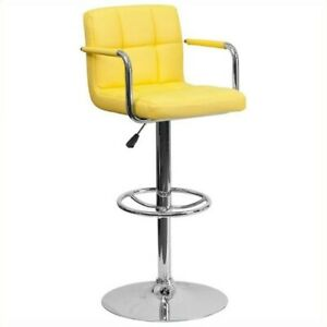 Flash Furniture Quilted Adjustable Bar Stool with Arms in Yellow