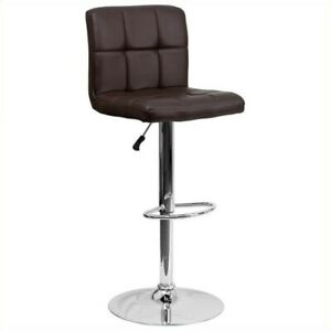 Flash Furniture Quilted Adjustable Bar Stool in Brown
