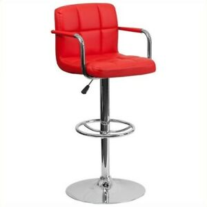 Flash Furniture Quilted Adjustable Bar Stool with Arms in Red