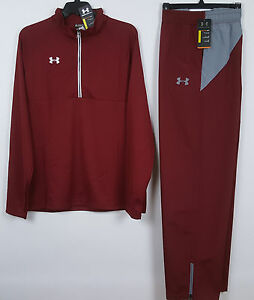 UNDER ARMOUR WARM UP SUIT JACKET + PANTS TEAM RED GREY NWT RARE =SIZE 2XL  2XLT
