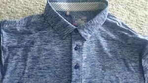 Mens Under Armour golf polo loose fit shirt large Heat Gear Blue Heathered L
