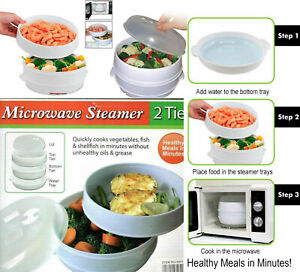 2 Tier Microwave Food Steamer Pasta Vegetable Fish Steamer Pot Healthy Cooker