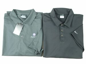 Lot of 2 Mens NIKE GOLF Polo Shirt Dry Fit Black NEW Charcoal Gray  sz XXL