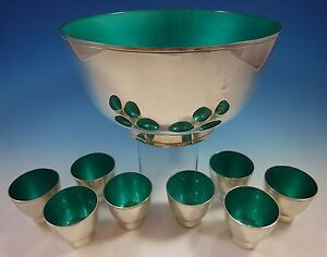 Towle Sterling Silver Punch Bowl and Cups with Turquoise Enamel (#1392)