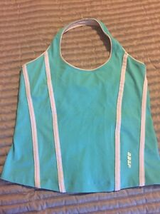 Women's BEBE SPORT HALTER Dry Fit Athletic Workout Shirt Tank Top Bra Medium