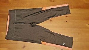 UNDER ARMOUR GRAY WITH ORANGE ACCENT FITNESS YOGA COMPRESSION PANTS  SM  P
