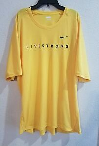 Retro Mens Nike Fit Dry Livestrong Athletic Shirt Size XXL Yellow