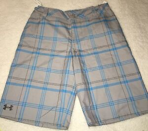 New Tags Under Armour Youth Boys Golf Plaid Loose Fit Shorts Youth XL Adjustable