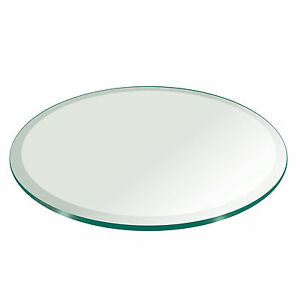 Fab Glass and Mirror Round Clear Glass Table Top with 1