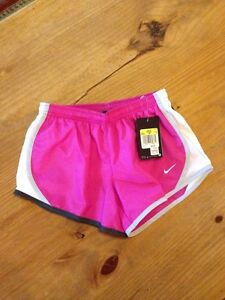 NIKE~Dri-Fit Athletic Running Shorts. Pink W Gray & White NWT Youth Girls S