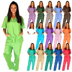 Medical Scrub Unisex Men Women Natural Uniforms Hospital Nursing set Top amp; Pants