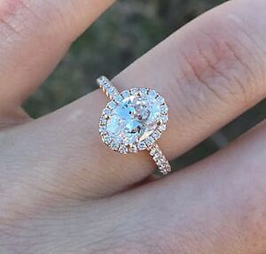 Charming 1.45 Ct Oval Cut Diamond Halo Engagement Ring U-Setting EVS2 GIA 14KWG