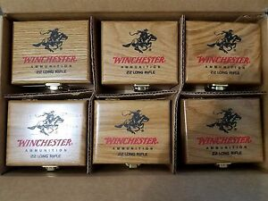 6 x Cabela's Winchester Wooden Oak Wood Ammo Box For 22 LR  (NO AMMO INCLUDED)