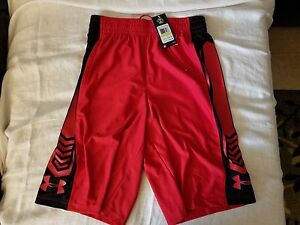 UNDER ARMOUR Basketball Athletic Loose Red Black Shorts Mens  Medium (M) NWT