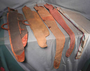 5 Antique canvas duck Leather Action Rod Reel Fishing Pole Fly cases Bag Vintage