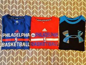 Boys' Size Small S(8) YS YXS 76ers basketball and Under Armour dry-fit t-shirts