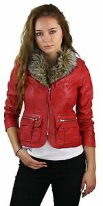 Womens Ladies Girls Soft Red Real Leather Short Biker Style Jacket