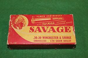 Savage Arms Corp .30-30 Winchester & Savage RedWhite 170 grain Empty Box Scarce