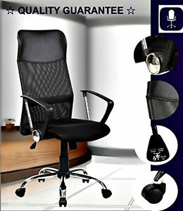 High Executive Swivel Chair Built-In Lumbar Support Chair 8074 Black Home Office