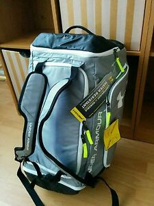 NWT Under Armour Contain Duffel Bag Backpack Water Resistant Storm Black Gray