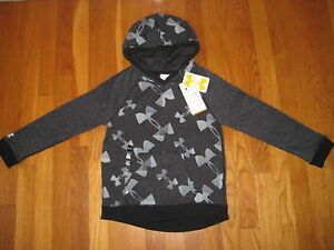 NEW Under Armour black gray Kaleidalogo HOODIE Sweatshirt UA girls logo silver S