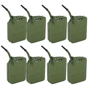 8 Set Jerry Cans 20 Liters (5 Gallons) Backup Steel Tank Fuel Gasoline Green