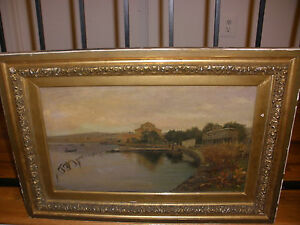 Antique oil on canvas painting listed artist Albert Aublet (French 1851-1938)