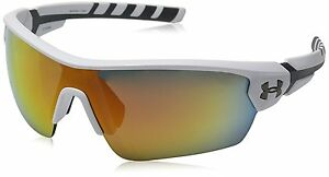 Under Armour Rival 8600090-110941 Shield Sunglasses Satin WhiteCharcoal Gray
