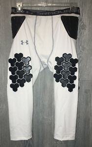 Mens 2XL UNDER ARMOUR Gameday D30 7 Pad Girdle Football 34 Girdle Shorts WHITE