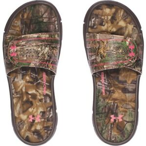 Under Armour Women's Ignite Camo VIII  Slide Sport Sandal Brown Camo 1287328