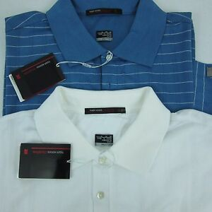 New Nike Golf Men's Polo Shirt XL Tiger Woods Coll Dri-Fit Lot of Two Blue White