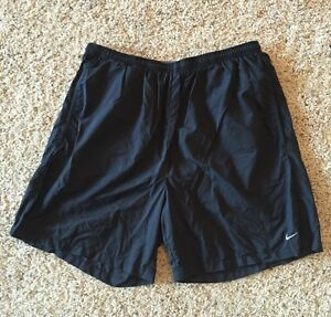 Men's NIKE Fit Dry Black Athletic Shorts wAttached Liner Sz L RCP