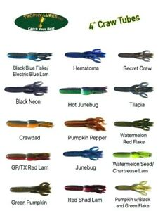 Trophy Lures 4quot; Craw Tube Creature Bait for Flippin#x27; and Pitchin#x27; Choose Color