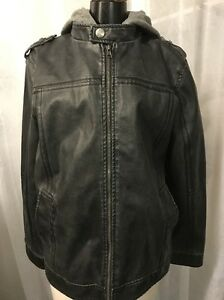 BKE Buckle Jeans Faux Leather Jacket With Hoodie Men's Full Zip Size Medium