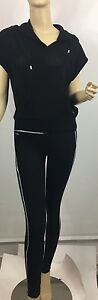 Ralph Lauren Tracksuit Womens Small Black White Pants Top Shirt New