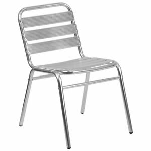 Flash Furniture Armless Chair With Slat Back in Gray $65.84