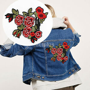 Large Red Peony Flower Embroidery Applique Cloth DIY Sewing Iron on Patch Badge $2.83