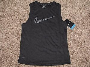 NIKE DRI FIT SLEEVELESS SHIRT BOYS LARGE XL ANTHRACITE GRAY $40