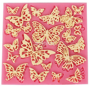 DIY Flower Butterfly Silicone Lace Mat Cupcake Fondant Molds Cake Decorating US