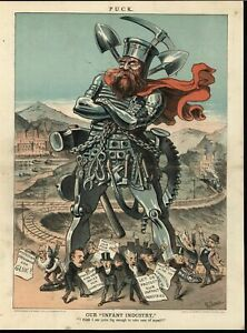 Steel Giant Federal Government Protection 1881 antique color lithograph print $27.96
