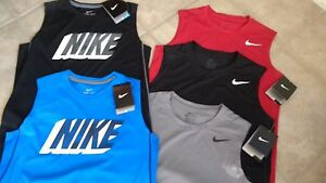 Lot of 2 NWT $50 MSRP Boys Nike Dri Fit Sleeveless Tank Top Shirt 810492  805909